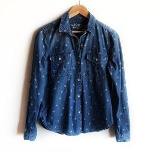 GAP denim star print button down shirt